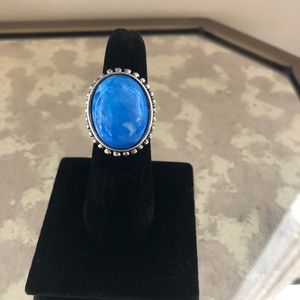Premier Designs antique silver ring with lapis.